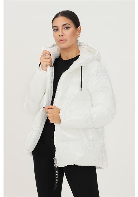 Piumino bianco in crystal nylon con cappuccio da donna firmato pinko PINKO | Giubbotti | 1G16NF-Y767Z14