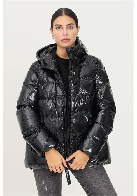 Piumino nero in crystal nylon con cappuccio da donna firmato pinko PINKO | Giubbotti | 1G16NF-Y767Z99