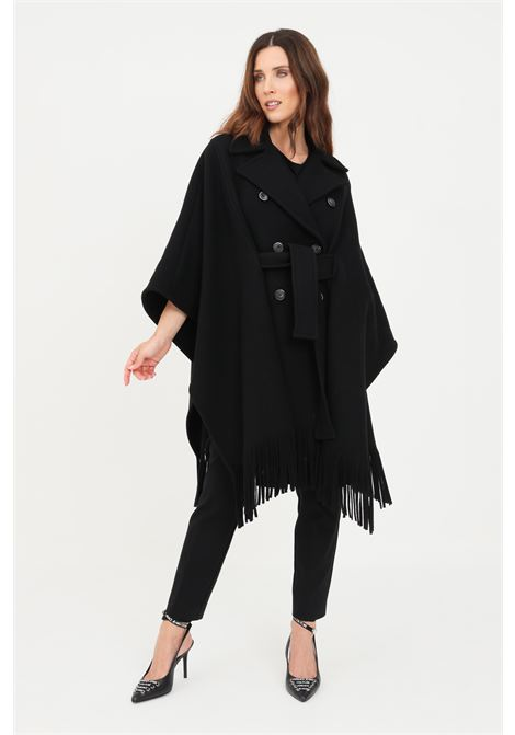 Black women's cape with fringes by pinko PINKO |  | 1G16RY-Y7DYZ99