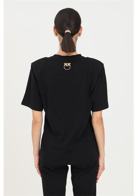 Pinko black woman t-shirt with fringes on the front PINKO | T-shirt | 1G16UE-Y6K7Z99