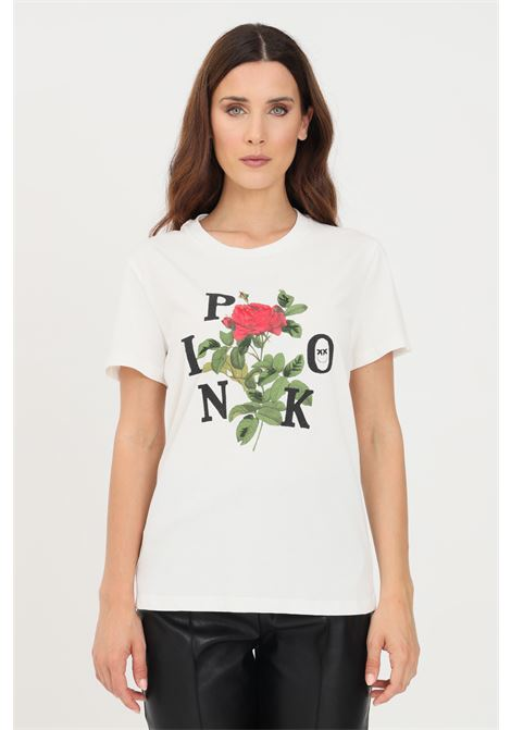 T-shirt donna bianco pinko a manica corta con stampa logo rosa PINKO | T-shirt | 1G16UK-Y74WZ14