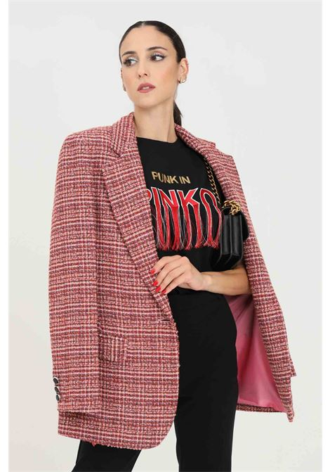 Fuchsia pink women's jacket with geometric pattern PINKO | Blazer | 1G16UZ-8571YN3