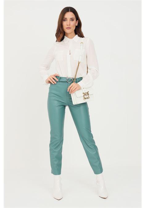 Pantaloni donna verde pinko modello casual con cintura in vita PINKO | Pantaloni | 1G16WU-7105V15