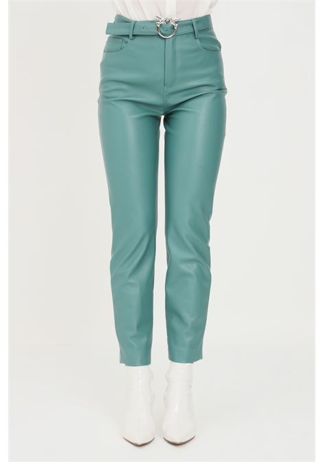 Green women's trousers with belt at the waist by pinko  PINKO | Pants | 1G16WU-7105V15