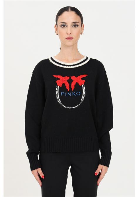 Black women's sweater by pinko, crew neck model PINKO | Knitwear | 1G16X3-Y7J5ZF6