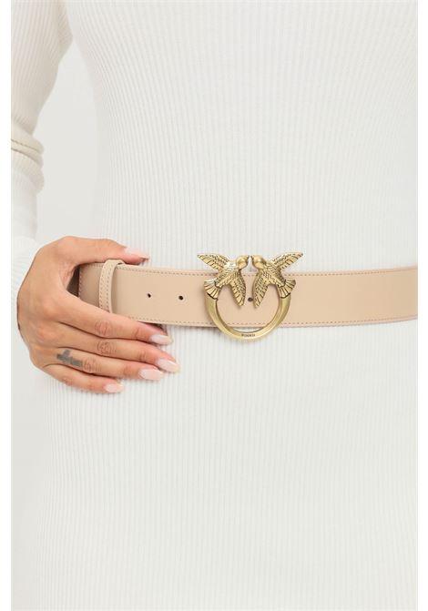 Beige women's love birds belt by pinko with maxi antique gold buckle PINKO | Belt | 1H20X4-Y6XTC61