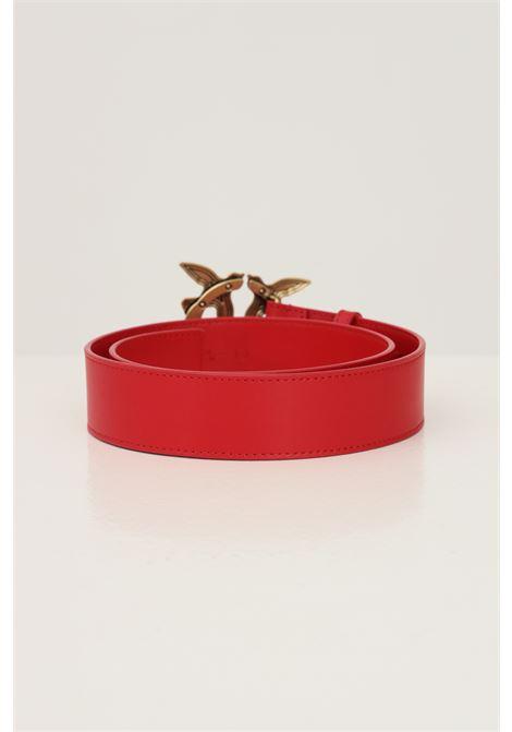 Red women's love birds belt by pinko with maxi antique gold buckle PINKO | Belt | 1H20X4-Y6XTR43