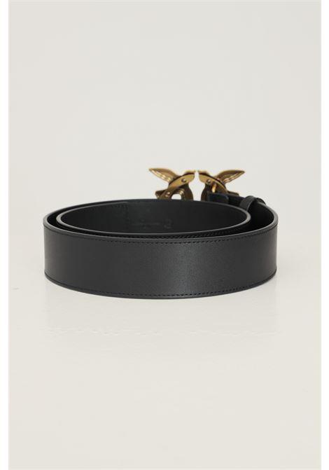 Black women's love birds belt by pinko with maxi antique gold buckle PINKO | Belt | 1H20X4-Y6XTZ99