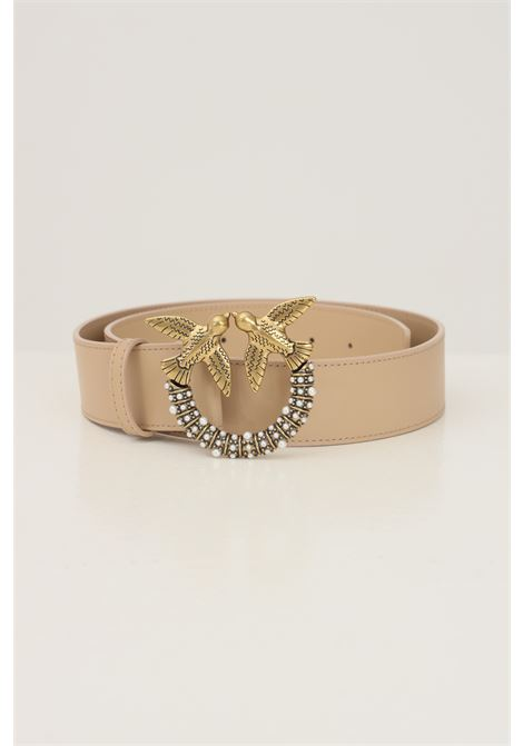 Beige women's belt by pinko with gold buckle and pearls application PINKO | Belt | 1H20X6-Y6XTC61