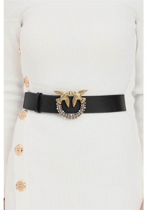 Black women's belt by pinko with gold buckle and pearls application PINKO | Belt | 1H20X6-Y6XTZ99