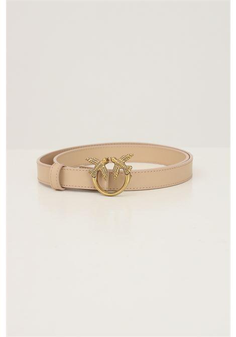 Beige women's belt by pinko con with logo buckle PINKO | Belt | 1H20X8-Y6XTC61