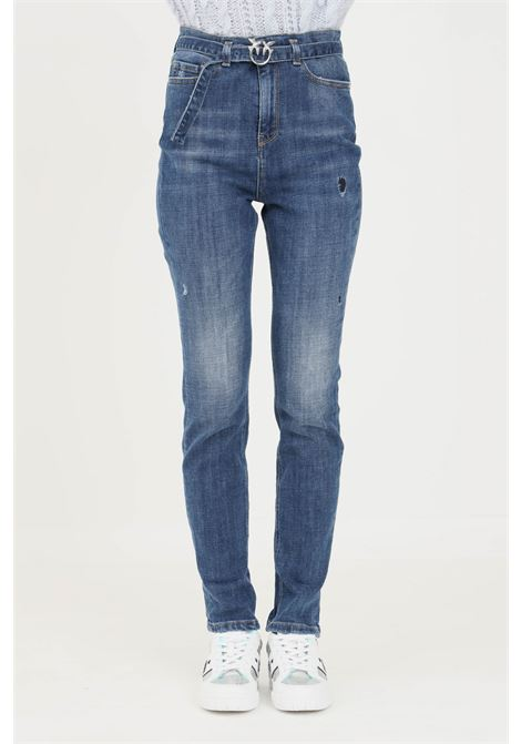 Blue women's jeans by pinko with belt at the waist PINKO | Jeans | 1J10P3-Y78QF57