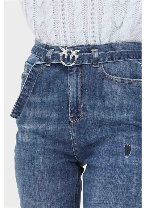 Blue women's jeans by pinko with belt at the waist PINKO   Jeans   1J10P3-Y78QF57
