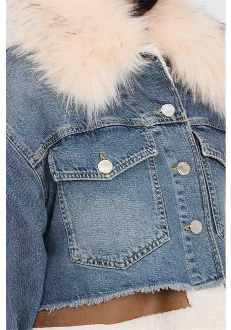 Giubbotto donna in denim blu pinko con pellicciotto PINKO | Giubbotti | 1J10QE-Y653G14