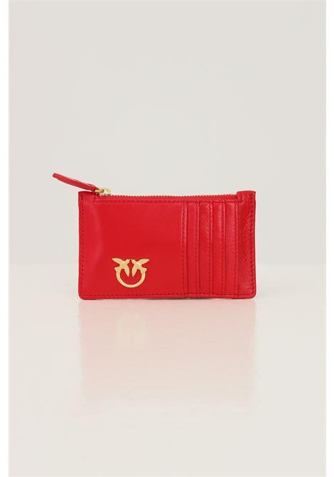 Portafogli donna rosso pinko con logo oro in metallo PINKO   Portafogli   1P22HA-Y7FYR43