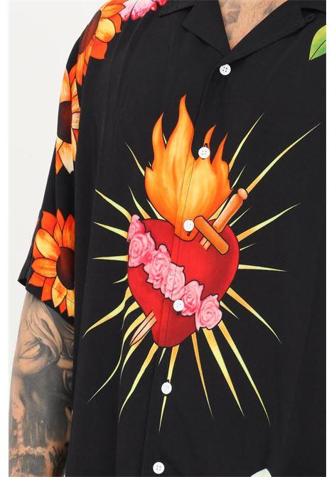 Camicia uomo nero a fantasia pleasures casual a manica corta PLEASURES | Camicie | P21SU015BLACK