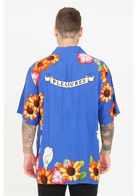 Camicia uomo blu a fantasia pleasures casual a manica corta PLEASURES | Camicie | P21SU015BLUE