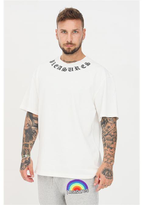 T-shirt uomo bianco pleasures a manica corta con logo ricamato al collo PLEASURES | T-shirt | P21SU028WHITE