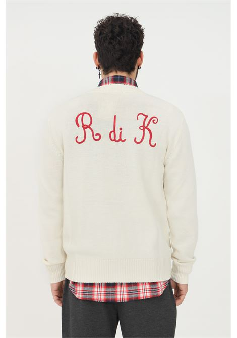 Cream men's cardigan by robe di kappa with embroidered logo on the front  RObe di kappa | Cardigan | 651186W869