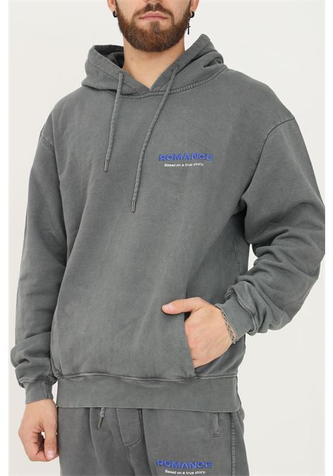 Grey men's hoodie by romance with logo embroidery on the front ROMANCE | Sweatshirt | R03009FEC1150