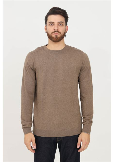 Brown men's sweater by selected crew neck model SELECTED | Knitwear | 16074682TEAK