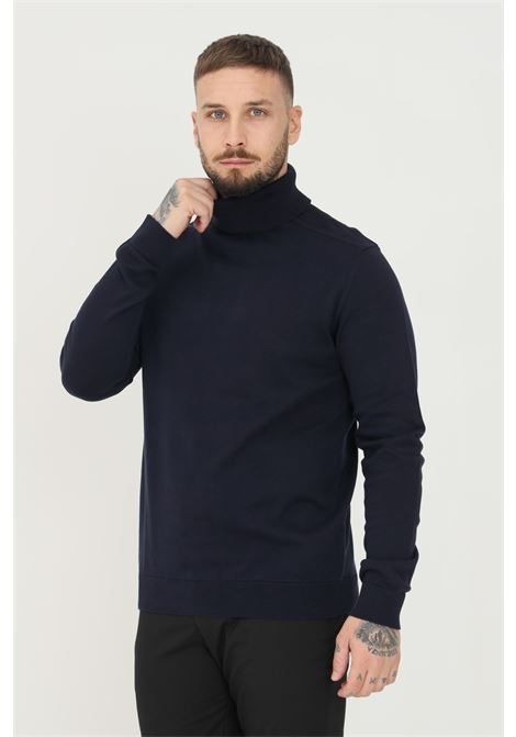 Blue men's sweater by selected high neck model SELECTED | Knitwear | 16074684NAVY BLAZER