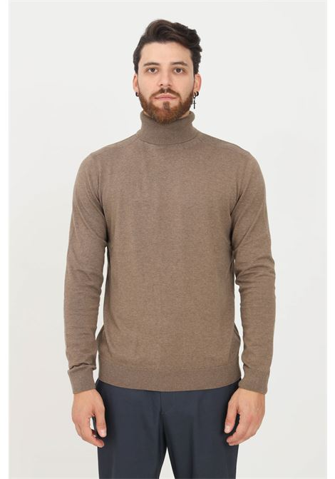 Brown men's sweater by selected high neck model SELECTED | Knitwear | 16074684TEAK