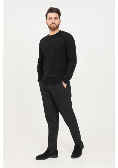 Black men's trousers by selected casual model with elastic band on the back SELECTED | Pants | 16079733BLACK