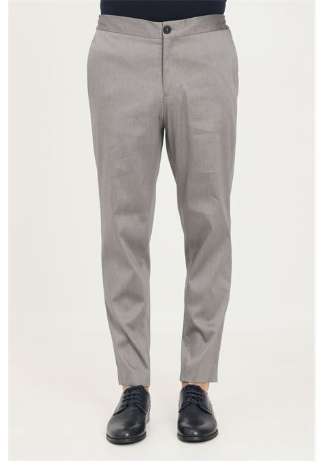Grey men's trousers by selected casual model with elastic band on the back SELECTED | Pants | 16079733GREY MELANGE