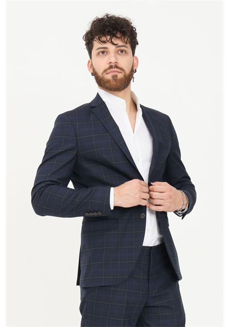 Blue men's jacket by selected with allover print SELECTED | Blazer | 16080744DARK BLUE
