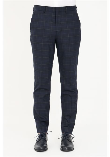 Blue men's trousers by selected, slim model with allover print SELECTED | Pants | 16080745DARK BLUE
