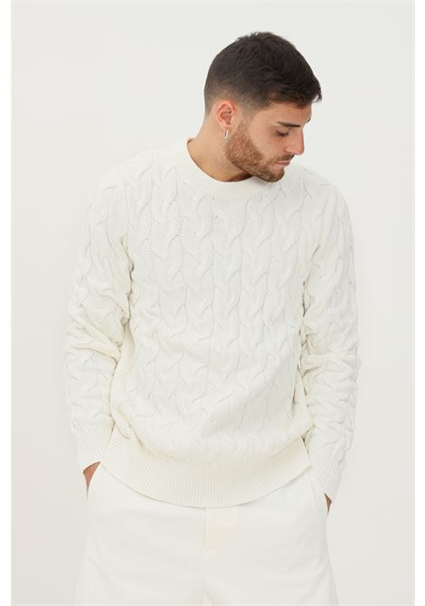White men's sweater by selected, crew neck model SELECTED | Knitwear | 16080991JET STREAM