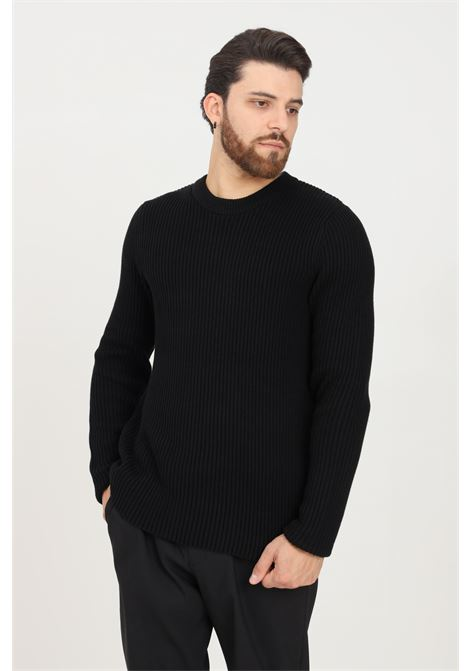 Black men's sweater by selected, ribbed crew neck SELECTED | Knitwear | 16081164BLACK
