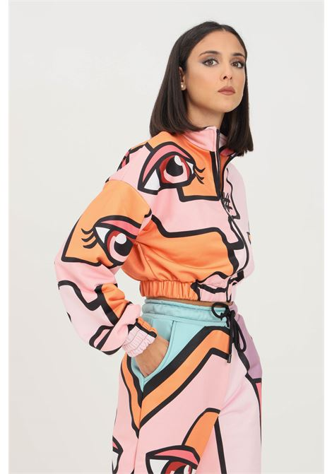 Pink fantasy women's sweatshirt by shit with zip on the front SHIT | Sweatshirt | SHT006PA8