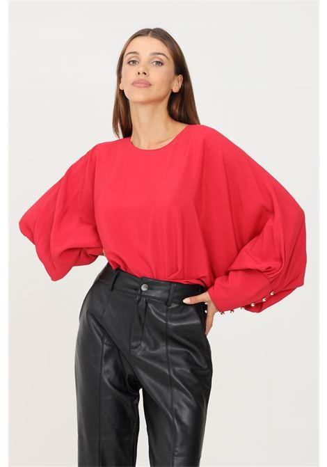 Blusa donna corallo simona corsellini con maniche scese e ampie SIMONA CORSELLINI | Bluse | A21CPBL001-01-TACE00020524
