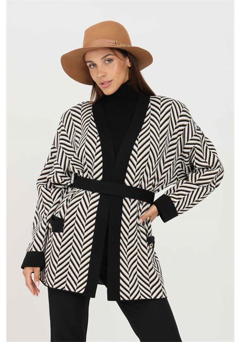 White black women's cardigan by simona corsellini with belt at the waist SIMONA CORSELLINI | Cardigan | A21CPCRE04-01-C02600020000