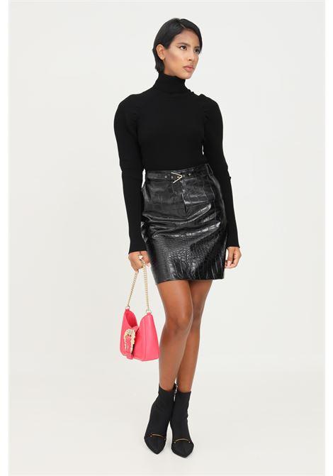 Black skirt by simona corsellini, high waist model and crocodile effect SIMONA CORSELLINI | Skirt | A21CPGO005-01-TEPL00070003