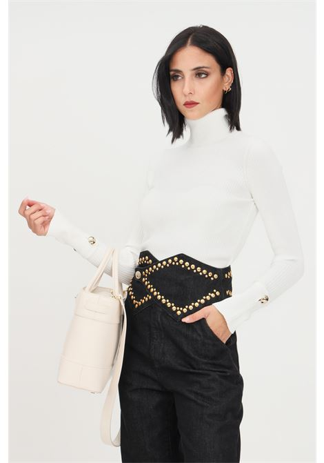 Cream women's sweater by simona corsellini, high neck SIMONA CORSELLINI | Knitwear | A21CPMGE01-01-C02600010161