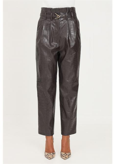 Brown women's trousers by simona corsellini with crocodile effect SIMONA CORSELLINI | Pants | A21CPPA012-01-TEPL00070519