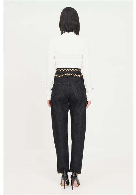 Black women's jeans by simona corsellini with flat studs applications SIMONA CORSELLINI | Jeans | A21CPPAD06-O2-C02700010003