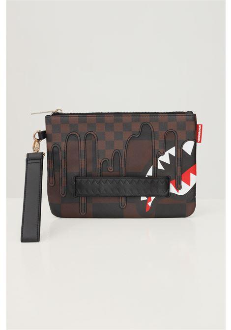 Brown unisex sharks in paris clutch bag by sprayground SPRAYGROUND   Bag   910B3932NSZ.