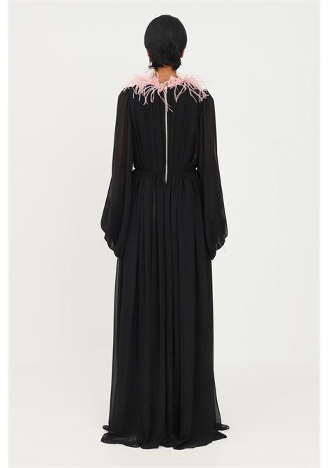 Black dress by stefano de lellis with feathers long cut STEFANO DE LELLIS | Dress | DAILANERO/ROSA