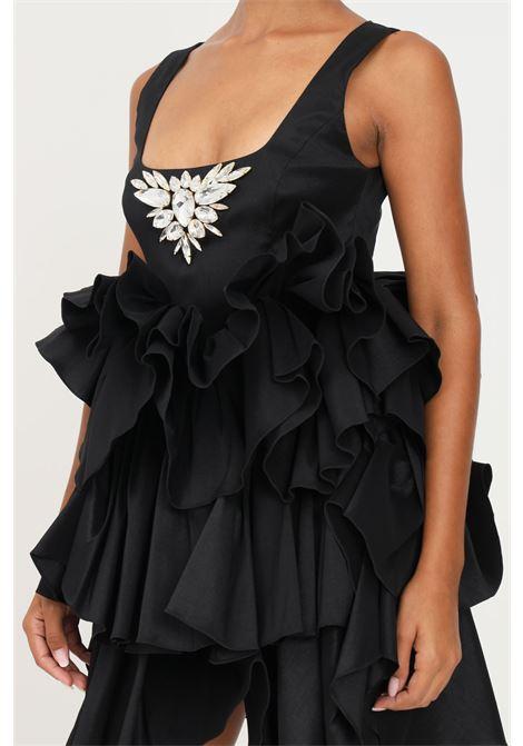 Black dress by stefano de lellis with maxi rouches STEFANO DE LELLIS | Dress | ELGA7