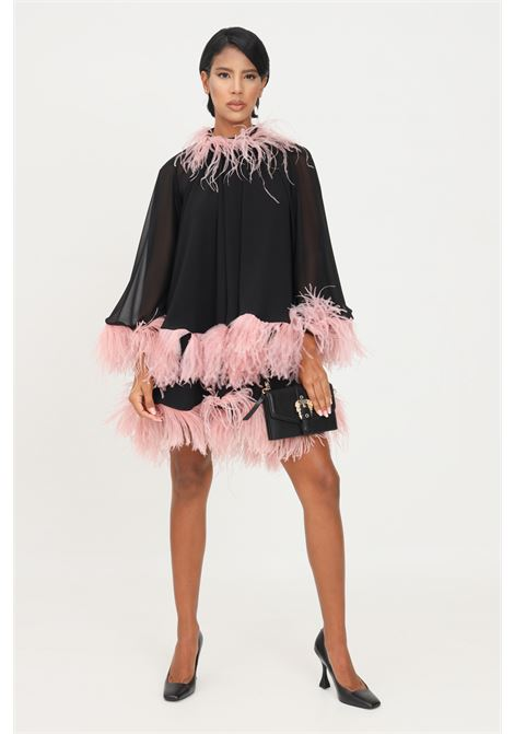 Black dress by stefano de lellis with feather applications STEFANO DE LELLIS | Dress | MARTINANERO/ROSA