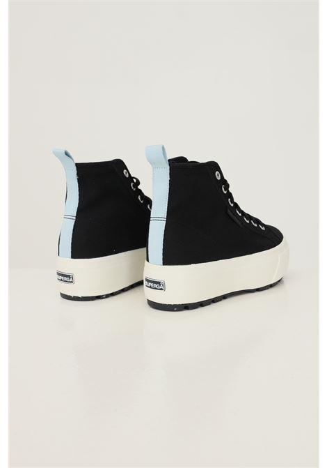 Black women's hi top tank sneakers by superga, boot model SUPERGA | Sneakers | S5113EW999