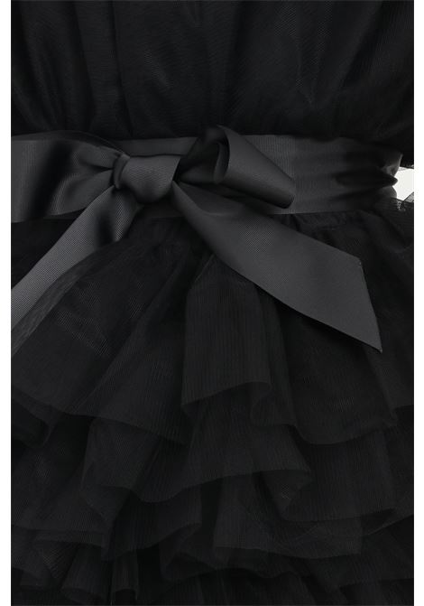 Black dress by teen idol in tulle with belt at the waist TEEN IDOL | Dress | 029783110