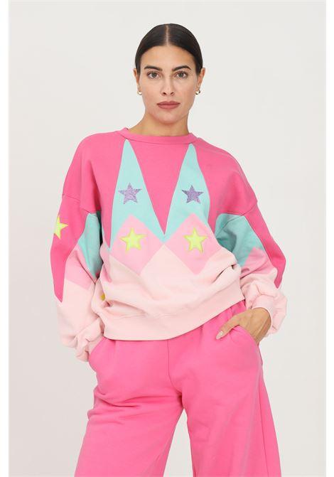 Felpa donna rosa teen idol girocollo con maxi ricamo logo sul retro TEEN IDOL | Felpe | 029784200