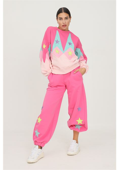 Fluo pink women's trousers by teen idol, casual model with stars embroideries TEEN IDOL | Pants | 029785200