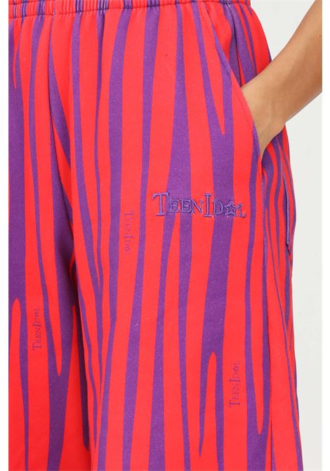 Violet red women's trousers by teen idol, casual model with allover print TEEN IDOL | Pants | 029787200