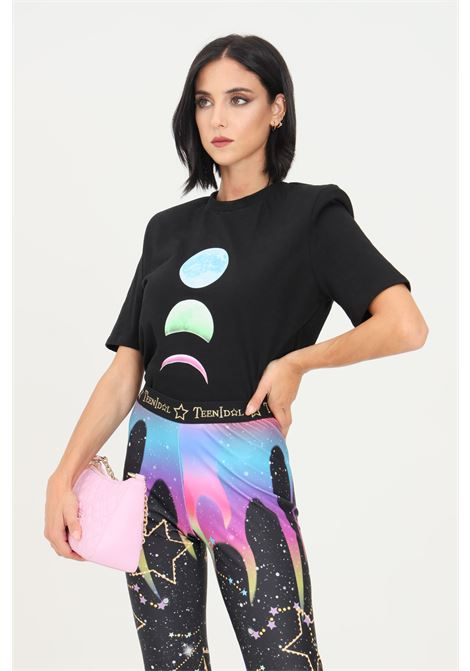 Black women's t-shirt by teen idol with front print and shoulder pads TEEN IDOL | T-shirt | 029791110